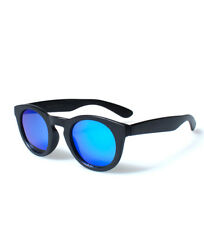 Gafas de sol de hombre de espejo negro redondo