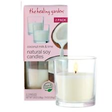 The Healing Garden Coconut Milk & Lime Natural Soy Candles 2Pk