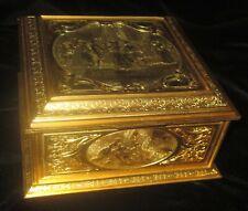 """Antique Large Bronze Casket Box French Signed J. Chereau  """"Le Bal Pare"""""""