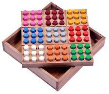 Farb Sudoku Denkspiel Knobelspiel Geduldspiel aus Holz mit farbigen Steckern
