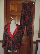 Victoria's Secret Red Multi Silky Pajama Set Lounge Wear Pant and Shirt S small