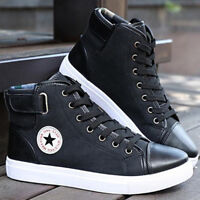 Fashion Men High Top Shoes Lace up Canvas Sneakers Casual Oxfords Leather Shoes