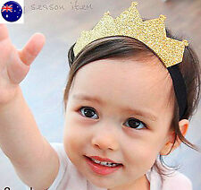 Baby Girl Boy Kid Prince Gold Elastic Party Crown Tiara headband hair head band