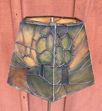 Rare Antique Painted Faux Leather Parchment Arts & Crafts Mission Era Lamp Shade
