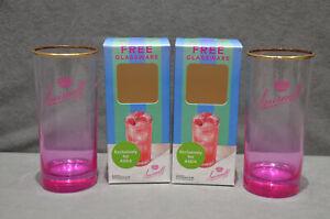 2x Smirnoff Raspberry Crush Vodka Highball Glass Pink Base In Gift Box New 2021