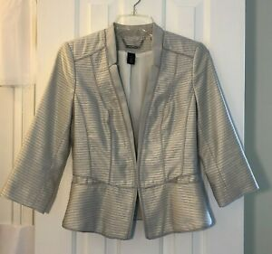 White House Black Market Blazer Jacket, Size 4, Ivory Lined 3/4 Sleeve 2 Pockets