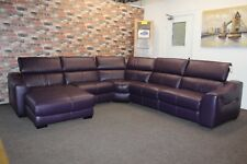 F.V. ELIXIR 5 PIECE ELECTRIC RECLINING CORNER SUITE & ARMCHAIR IN PURPLE LEATHER