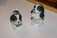Nwt Homco English Springer Cocker Spaniel Puppies 2 Figurines Black & White