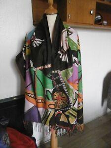 Foulard écharpe étole en laine &cachemire motif Picasso multicolore idée cadeau