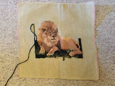 New ListingNeedlepoint Canvas, Lion, Very Nice, Started, 1426