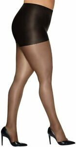 HANES Silk Reflections Control Top Pantyhose Sheers Plus Petite Barely Black