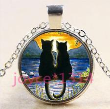 Black cat in tree Cabochon Tibetan silver Glass Chain Pendant Necklace #4159