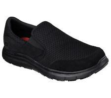 Skechers Shoes Men's Wide Work Width BBK Black 77048 Sport Mesh Slipon Resistant
