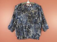 TB02368- NEW CHICO'S 100% Polyester Loose Fit Blouse Multi-Color Geo Sz 2 M-L