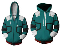 My Hero Academia Izuku Midoriya Hoodie Cosplay Zip Up Jacket Pullover Sweatshirt