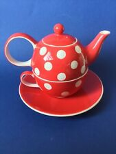 Whittard of Chelsea Florence Red Spot Tea for One - Teapot, Cup & Saucer