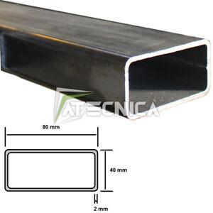 Tubolare in ferro a profilo rettangolare 80 x 40 x 2 mm grezzo stondato 1-2-3 mt