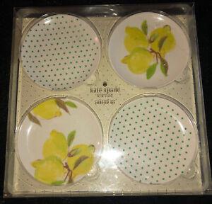 KATE SPADE NY-COASTER SET-NEW-Melamine-Green White Yellow-Lemons-Polka Dots-4X4