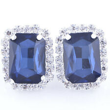Vintage White Gold Plated Dark Blue Big Square Crystal Clean CZ Stud Earrings