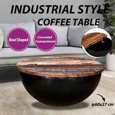 vidaXL Solid Reclaimed Wood Coffee Table Black Bowl Shape Couch Side Table