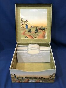 "HTF~ New Seasons Folk Art Photo / Recipe / Storage Box w/ Dividers 10"" x 9.5"""