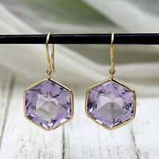 Natural Hexagon Amethyst Dangle Drop Earrings 18kt Solid Yellow Gold 23.5 TCW
