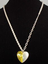 Jessica Simpson Worn Silvertone LOVE STORY 2 Yellow Heart Pendant Long Necklace