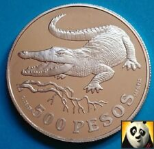 1978 COLOMBIA 500 Pesos Crocodile Conservation WWF Silver Proof Coin