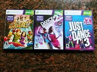 XBOX 360 Kinect Games Bundle Kinect Adventures, Dance Central 2, & Just Dance 3