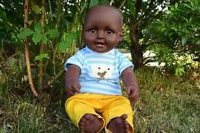"""LARGE 18"""" AMERICAN BLACK AFRICAN CHARLES BABY BOY DOLL 46CM AFRO MALE GENDER"""