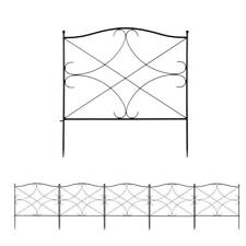 5 Pack Garden Fence Wrought Iron Fence Outdoor Fencing Border Edging Barrier