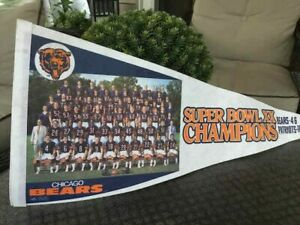 Official Chicago Bears Superbowl XX Champions Pennant Bears 46~Patriots 10