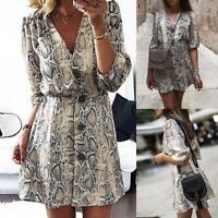 Women Long Sleeve Snake Skin Pattern Print V-Leck Bodycon Stretch Dress