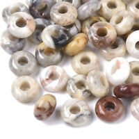 10pc Natural Crazy Agate European Large Hole Rondelle Beads Stone Loose 10x4.5mm