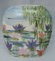 Anita Harris Homage to Monet's Water Lillies Pond and Willow Vase - signed in...
