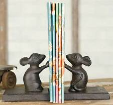 Antique Vintage Pair of Decorative Mice Bookends Cast Iron Metal Library Mouse