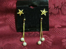 Set of 2 Pairs Post Earrings Stars and Dangle Pearls