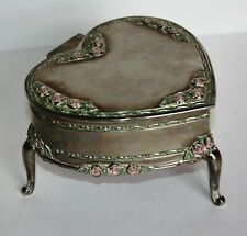 Vintage Silver plated Heart Shaped Jewelry Box w Hinged Lid Rose Adorned Foote
