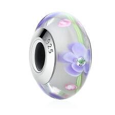 DIY .925 Sterling Silver Purple Flower Inlays European Glass Beads fit Bracelet
