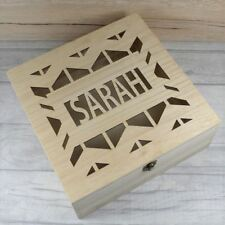 Personalised Wooden Box With Zig Zag - Wooden Boxes, Engraved Box, Keepsake Box