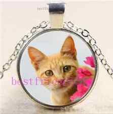 Kitten Cat With Flower Cabochon Glass Tibet Silver Chain Pendant Necklace