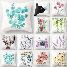 "18"" Flower Printed Pillow Case Sofa Couch Waist Throw Cushion Cover Home Decor"