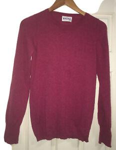 Brora (Scotland) Womens Raspberry 100% Cashmere Jumper Size 8