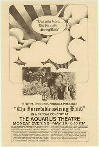 Incredible String Band Aquarius Theatre 1969 Elektra Concert Handbill w/Doors