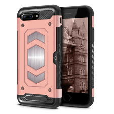For Apple iPhone 8 Plus Hybrid Dual Layer Metallic Brush Card Holder Case Cover