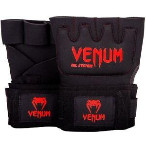 Venum Kontact Gel Glove Wraps - Black/Red . MMA, Freefight, Training, Sparing,