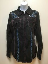 Grace in LA Women's Black Turquoise Rhinestone L/S Shirt Sz Small