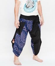 Hippie Smock Waist Samurai Harem Pants Ninja Warrior Trousers Tribal Fish Bone