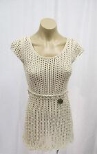ELISABETTA FRANCHI Beige Open Knit Dress w/ Cap Sleeve & Built in Gold Belt - 38