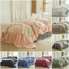 3Pcs Quilt Cover Bedding Edge Ruffle Duvet Cover Set Cotton Solid King QueenTwin